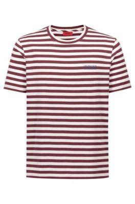 T-shirt à rayures en jersey simple de coton, à logo inversé, Rouge sombre