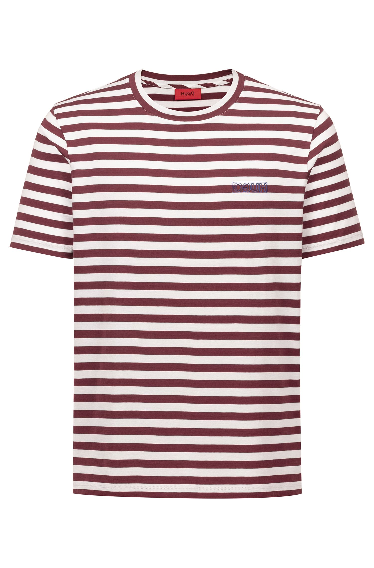 Striped T-shirt in single-jersey cotton with reverse logo, Dark Red