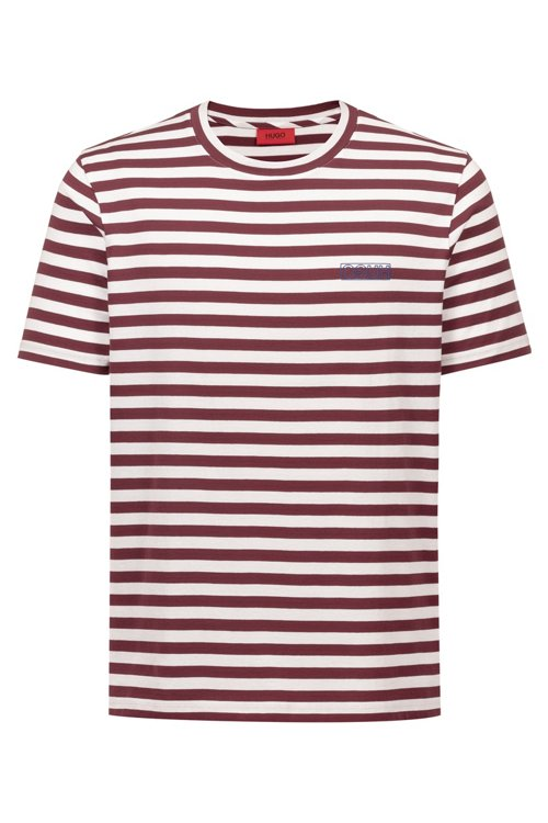 Hugo Boss - Gestreiftes T-Shirt aus Single Jersey mit Reversed-Logo - 1
