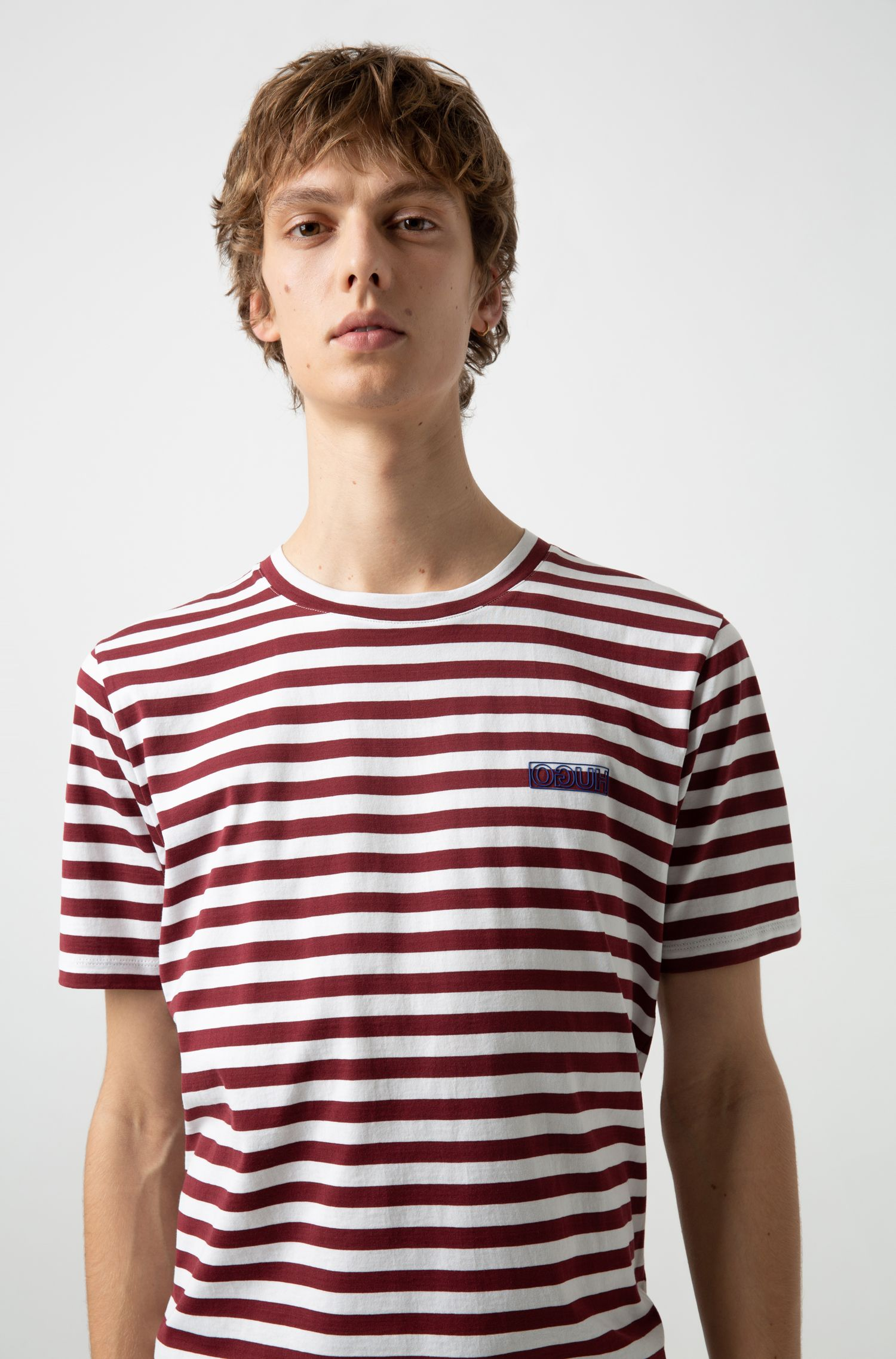 Hugo Boss - Striped T-shirt in single-jersey cotton with reverse logo - 3