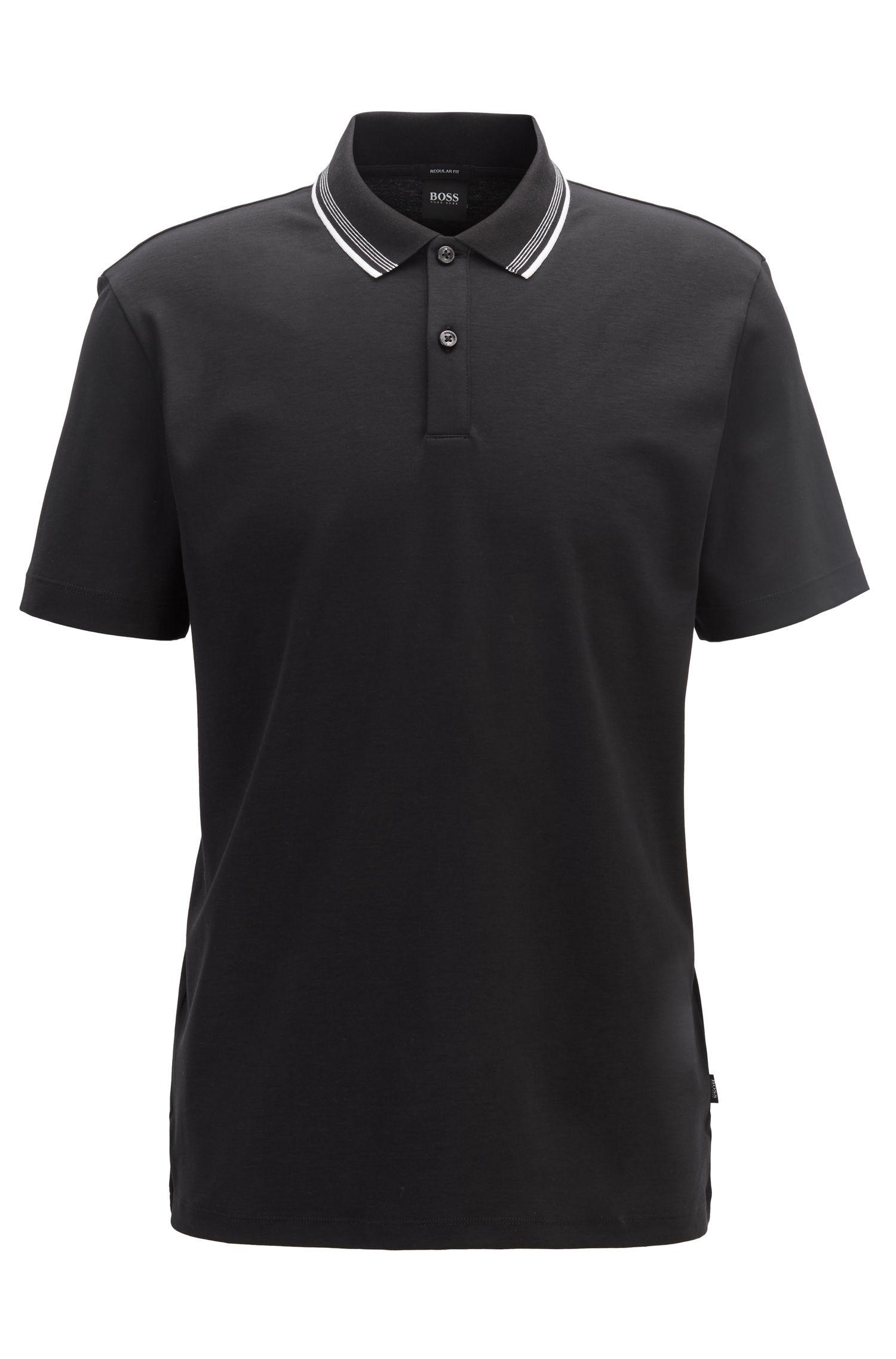 Polo Regular Fit en coton interlock, Noir