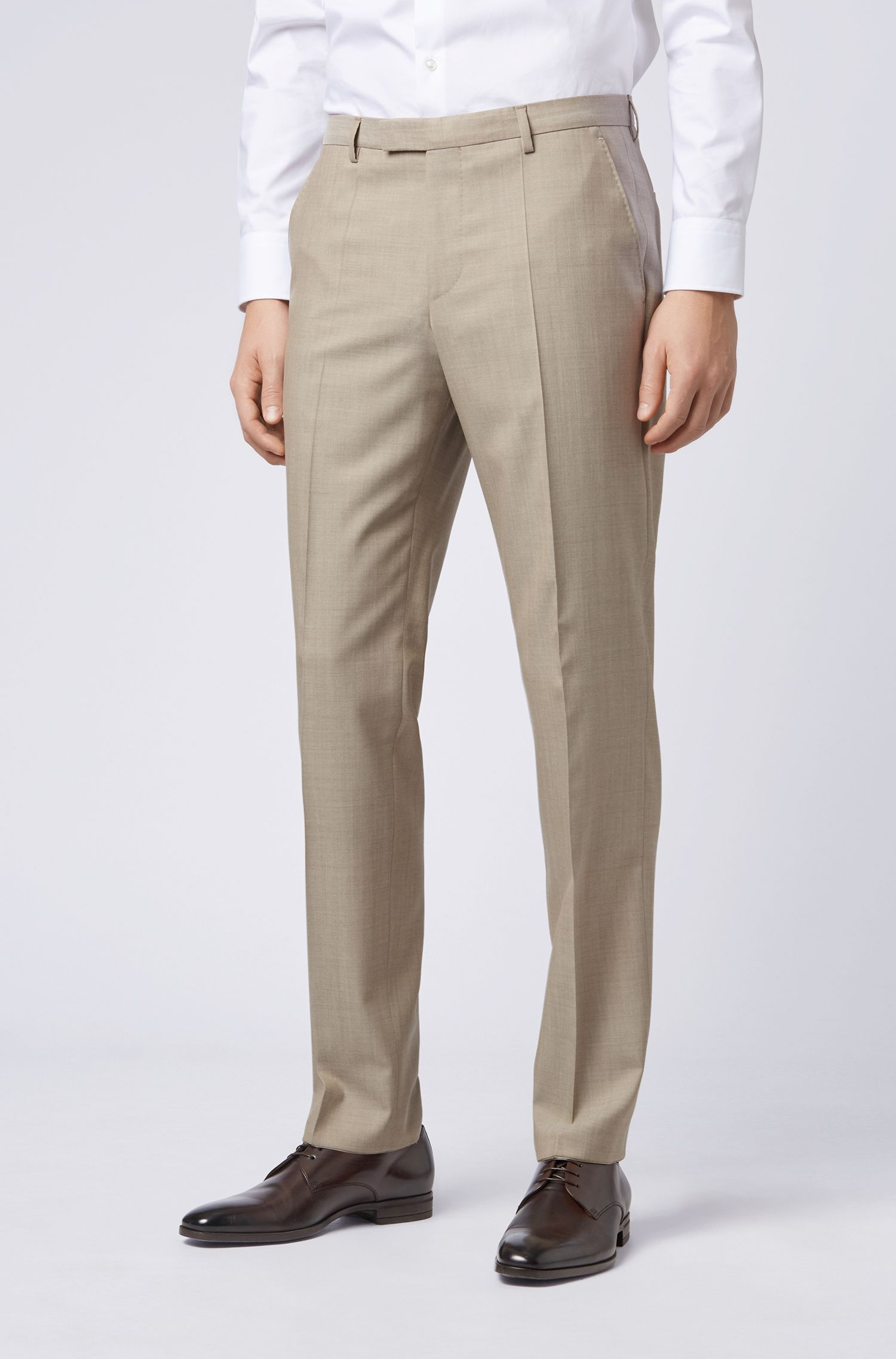 Regular-fit suit in virgin wool with natural stretch, Light Beige