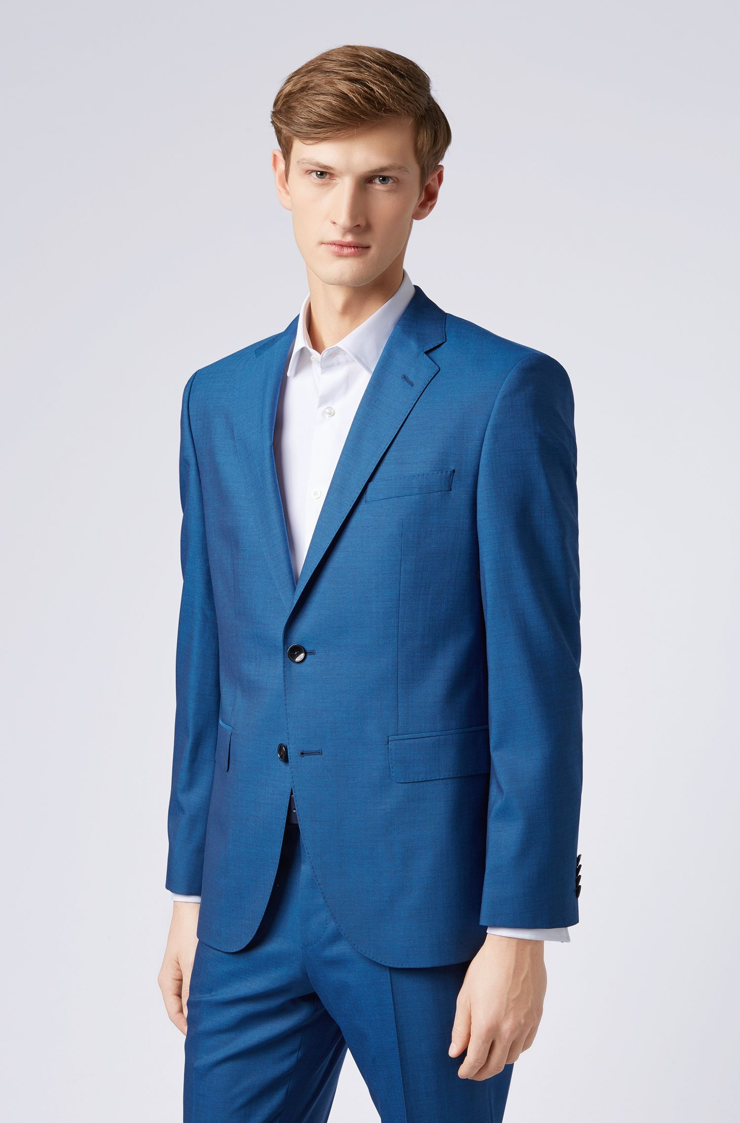 Regular-fit suit in virgin wool with natural stretch, Light Blue