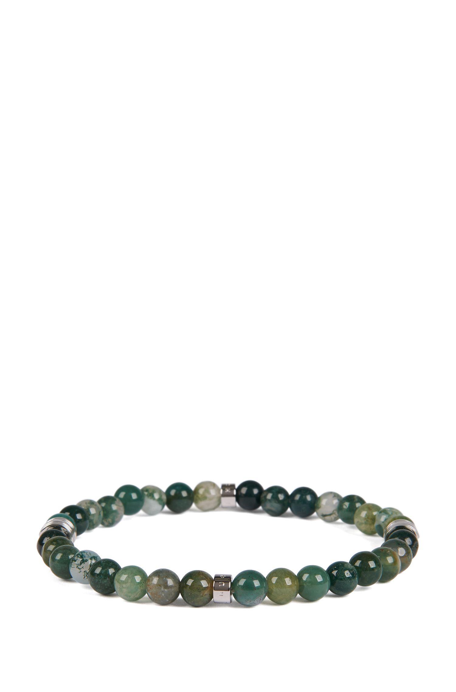In Italien gefertigtes Armband mit Achat-Perlen, Dunkelgrün