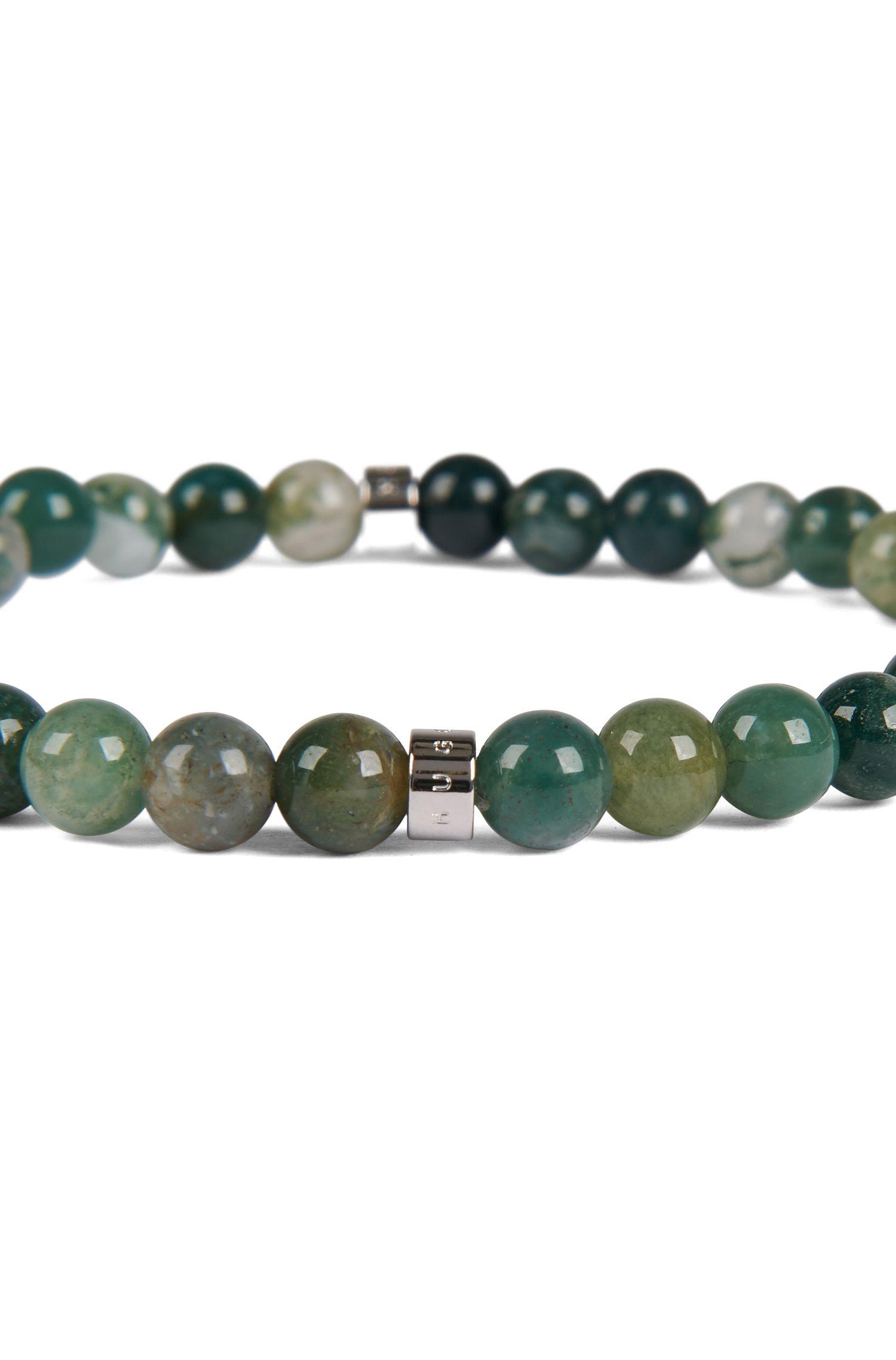 Bracelet en billes d'Agathe confectionné en Italie, Vert sombre