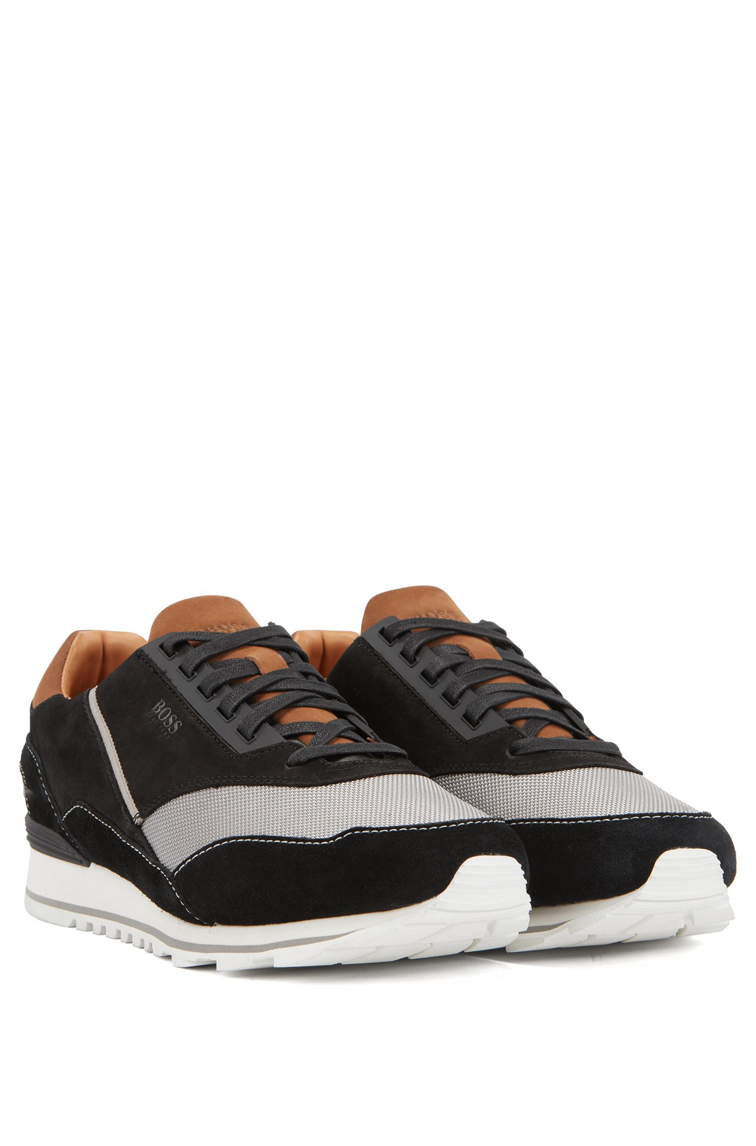 Low-top trainers in suede, leather and technical fabric, Black
