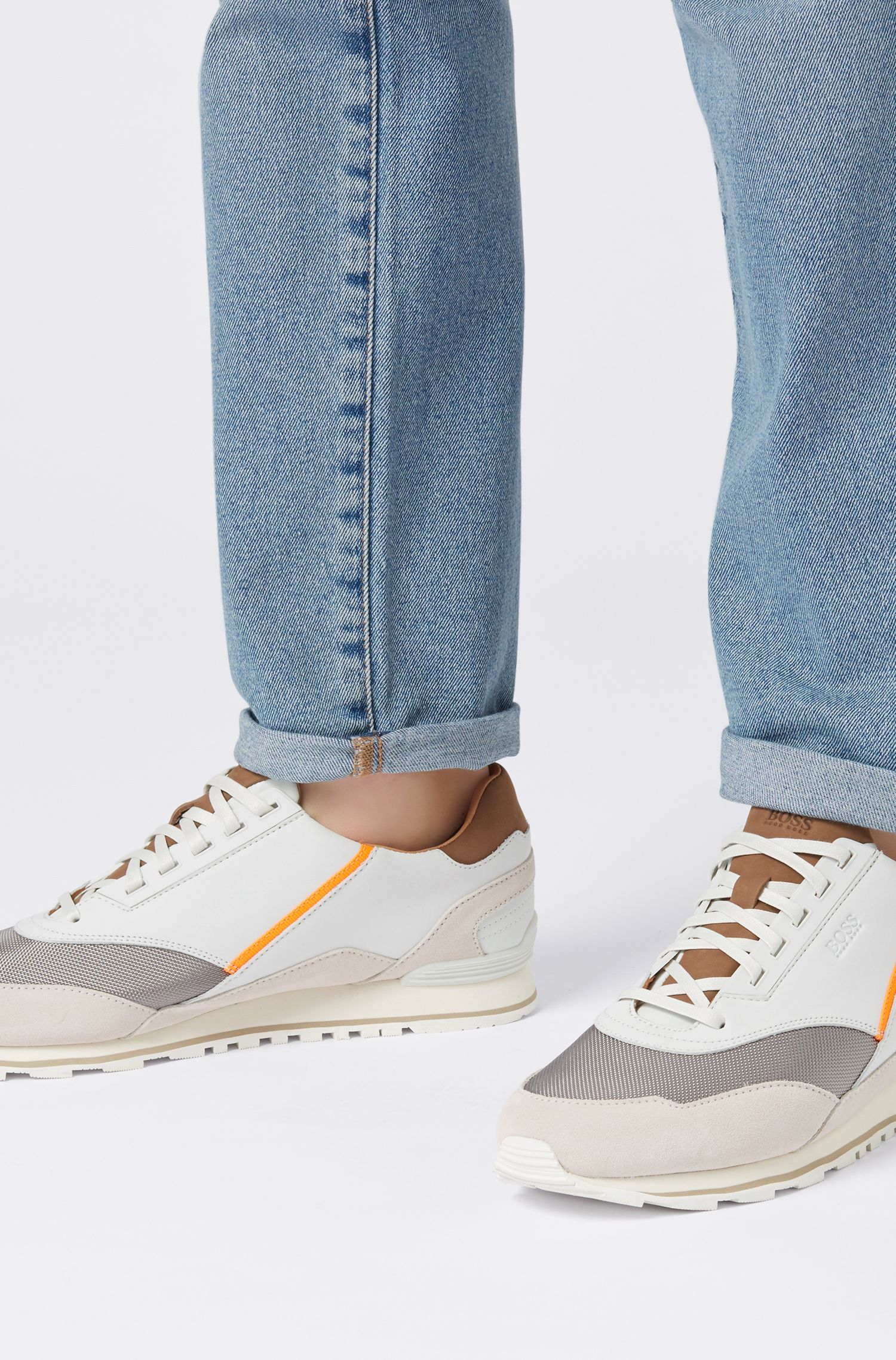 Low-top trainers in suede, leather and technical fabric, White