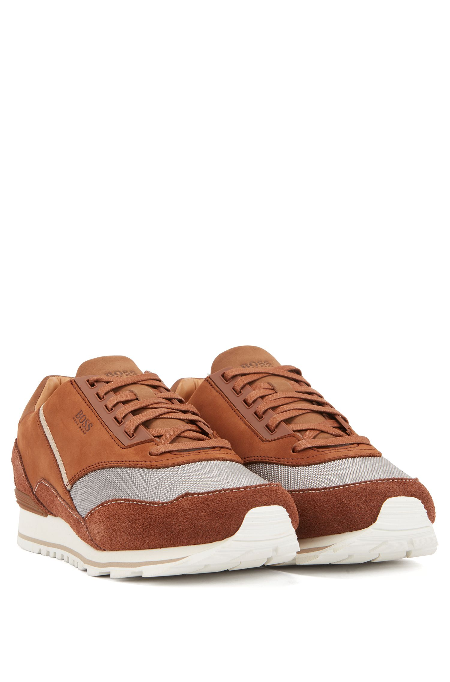 Low-top trainers in suede, leather and technical fabric, Brown