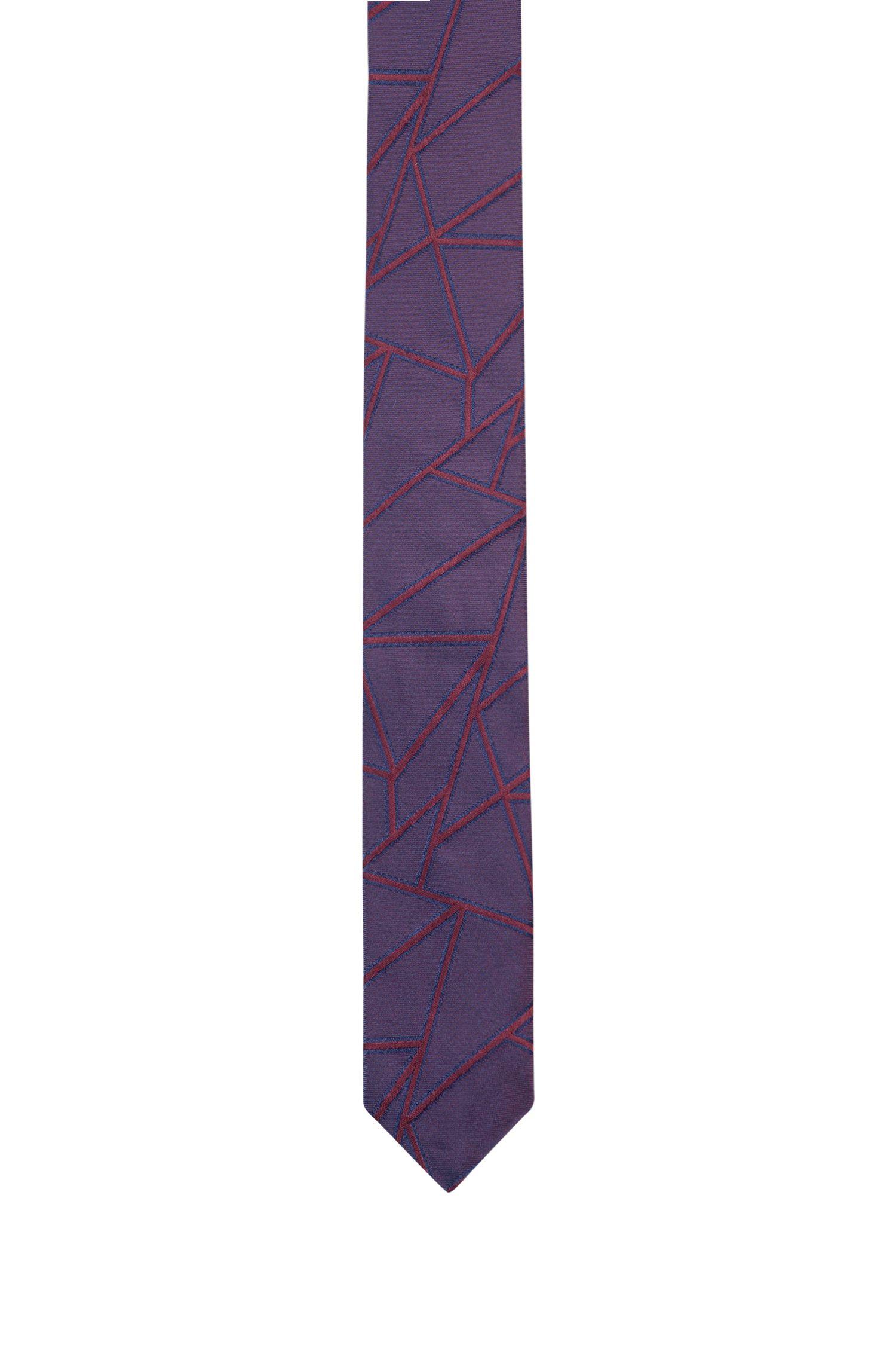 Krawatte aus Seiden-Jacquard mit geometrischen Linien, Gemustert
