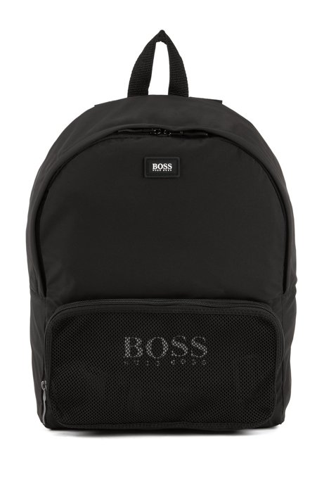 0243c3f604 BOSS - Convertible backpack in recycled technical fabric with logo print