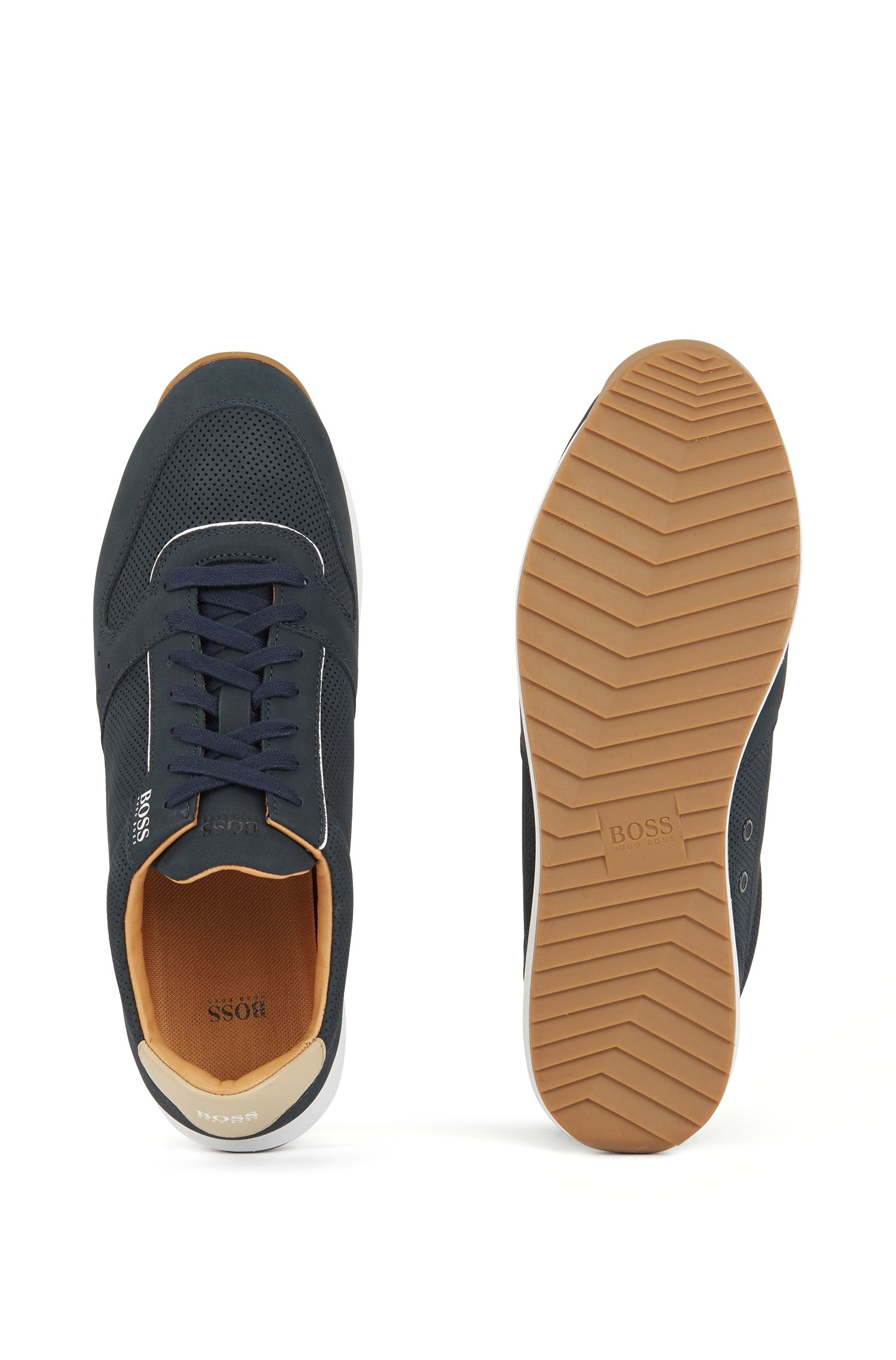 Nubuck trainers with laser-cut details, Dark Blue