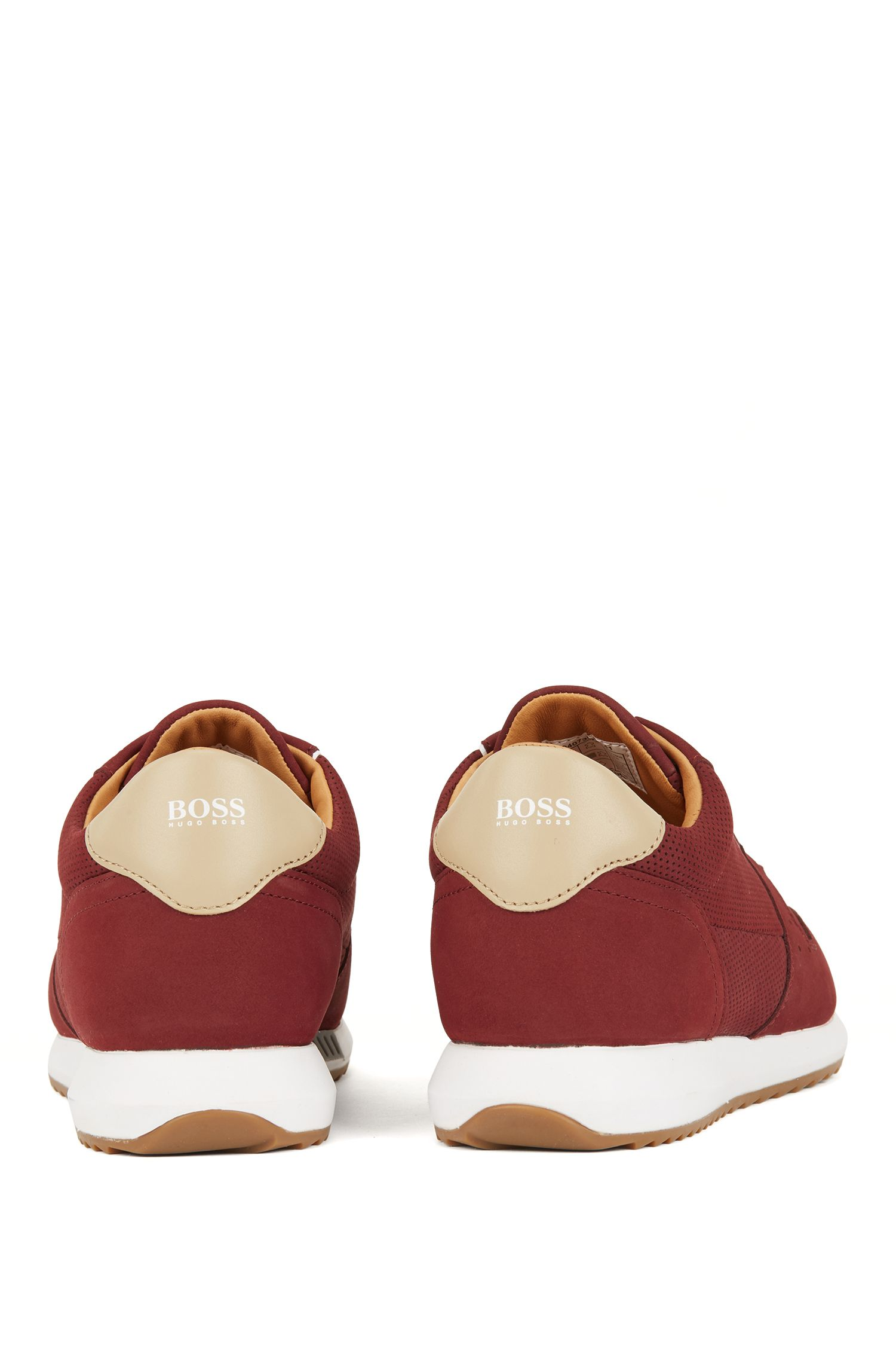 Nubuck trainers with laser-cut details, Dark Red