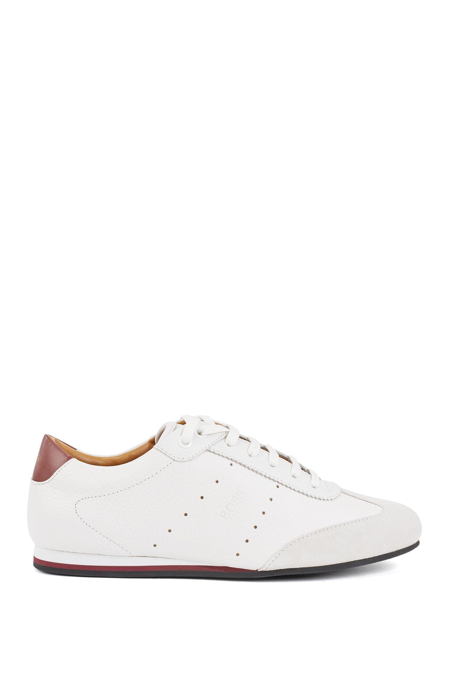 Lowtop Sneakers aus Veloursleder und gewalktem Leder, Weiß