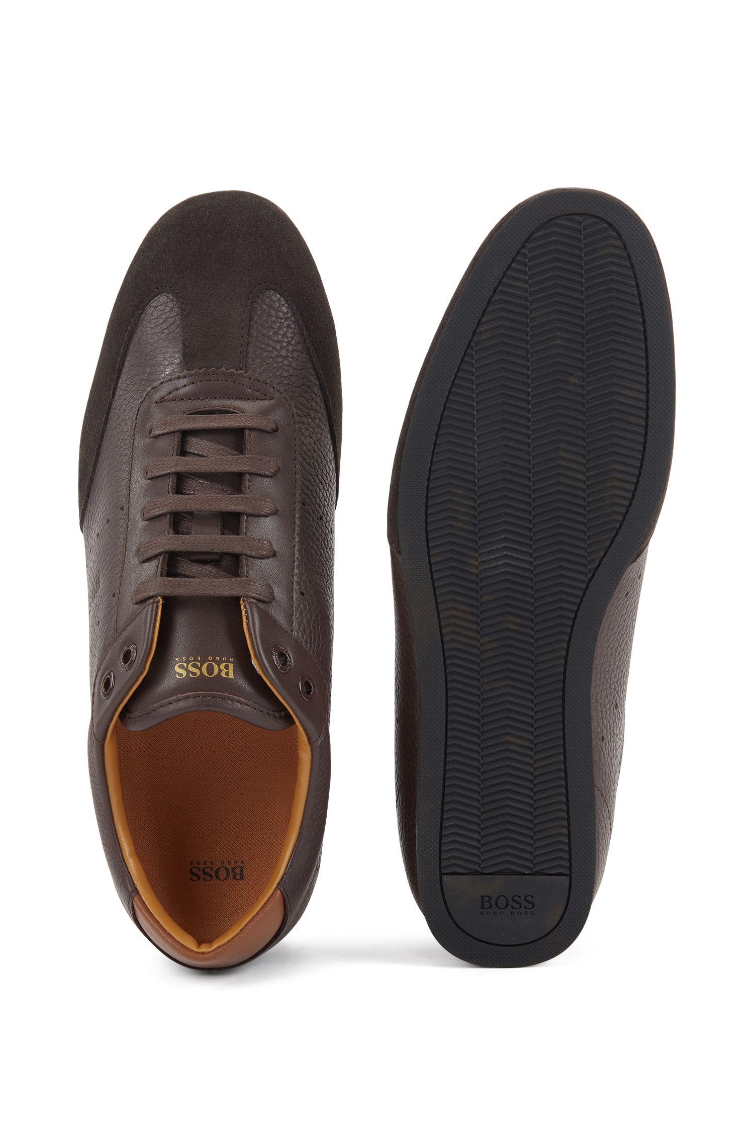 Lowtop Sneakers aus Veloursleder und gewalktem Leder, Dunkelbraun