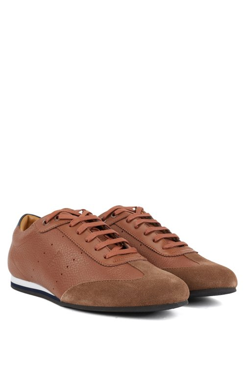 Hugo Boss - Low-top trainers in suede and tumbled leather - 2