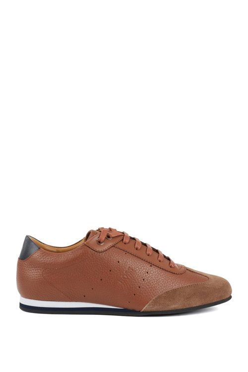 Hugo Boss - Low-top trainers in suede and tumbled leather - 1
