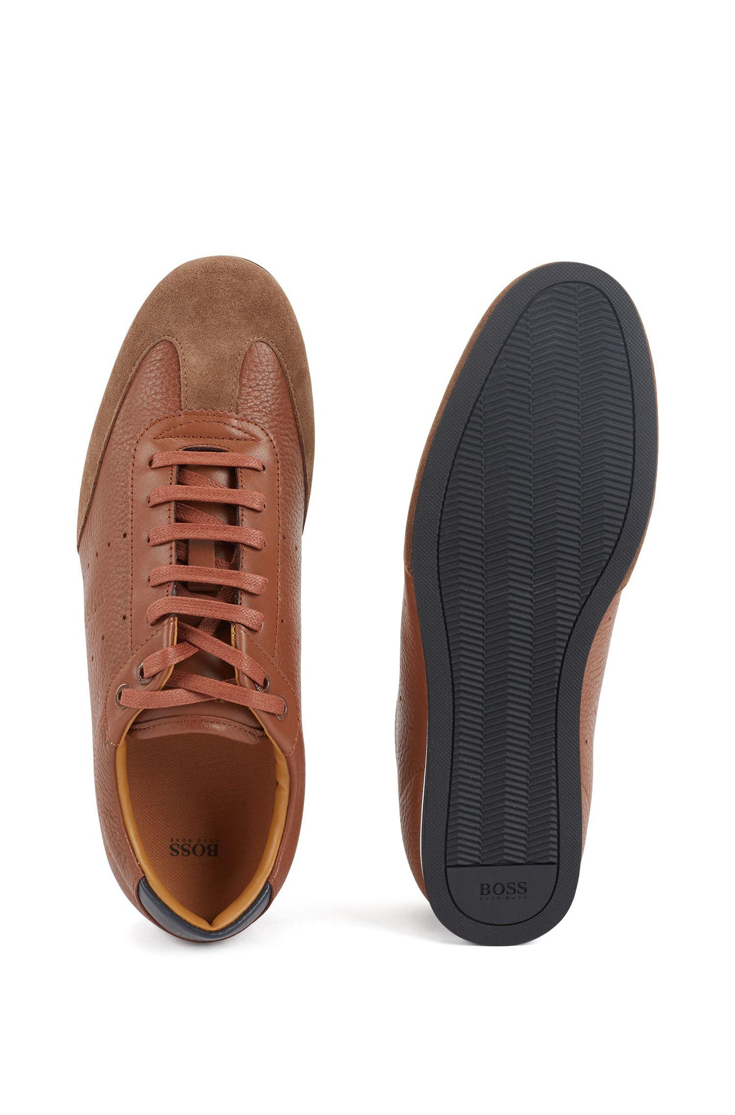 Lowtop Sneakers aus Veloursleder und gewalktem Leder, Braun