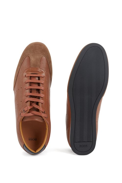 Hugo Boss - Low-top trainers in suede and tumbled leather - 5
