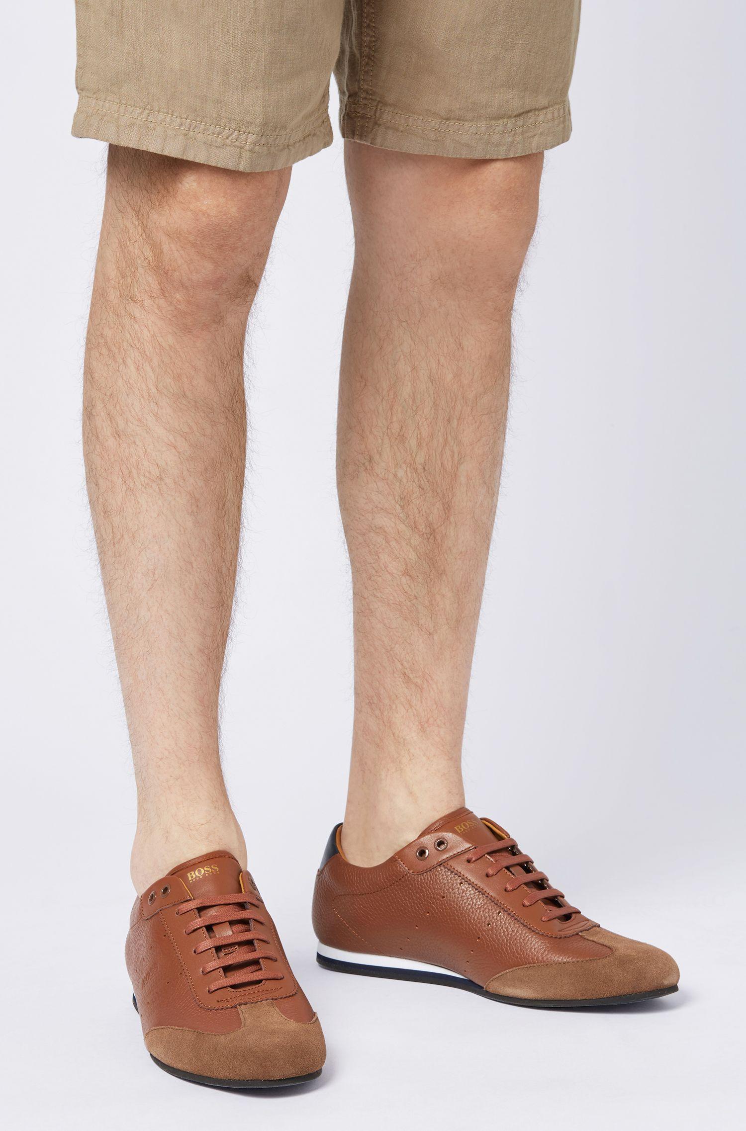 Hugo Boss - Lowtop Sneakers aus Veloursleder und gewalktem Leder - 4