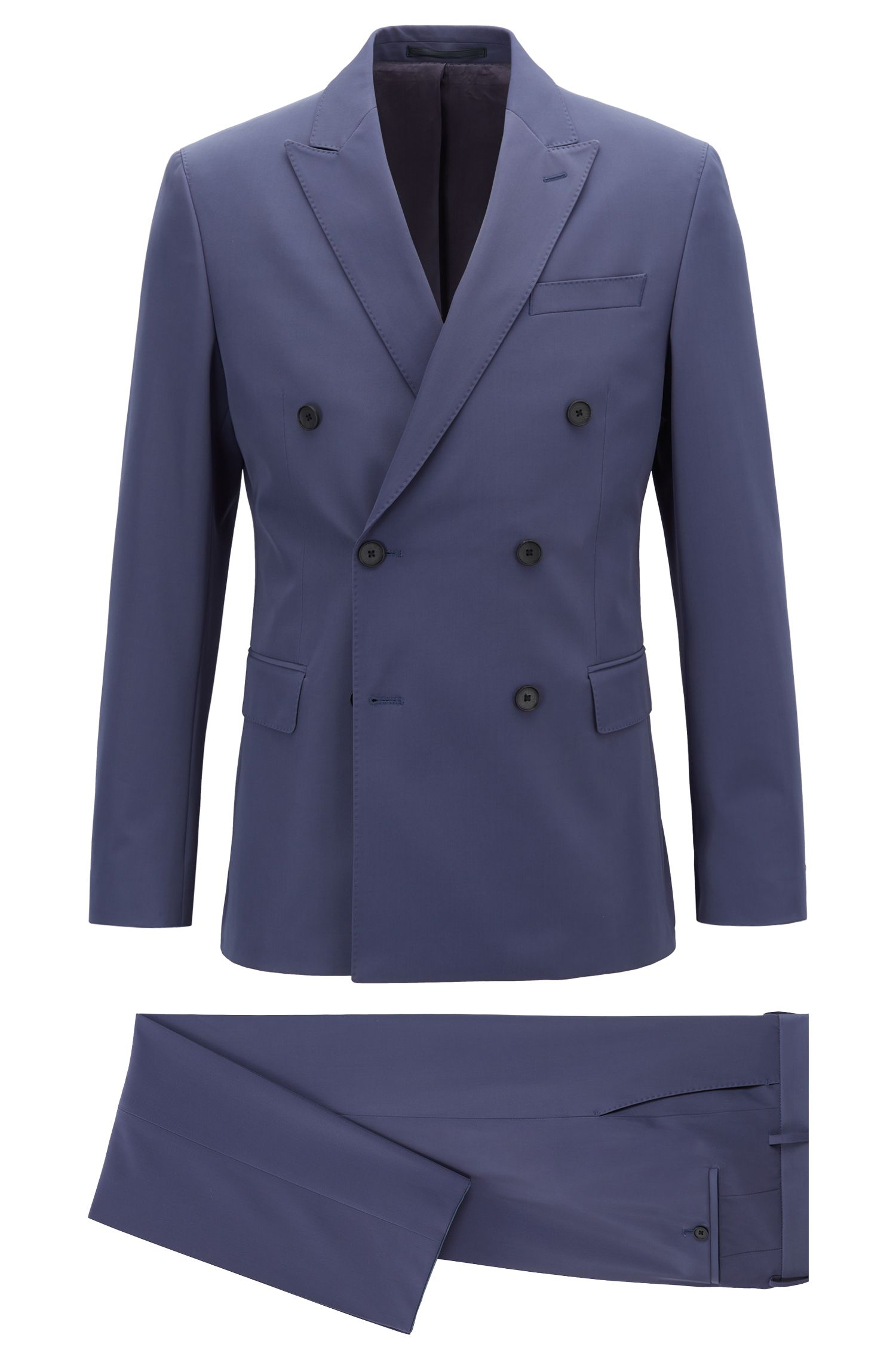 Double-breasted slim-fit suit in stretch fabric, Open Blue