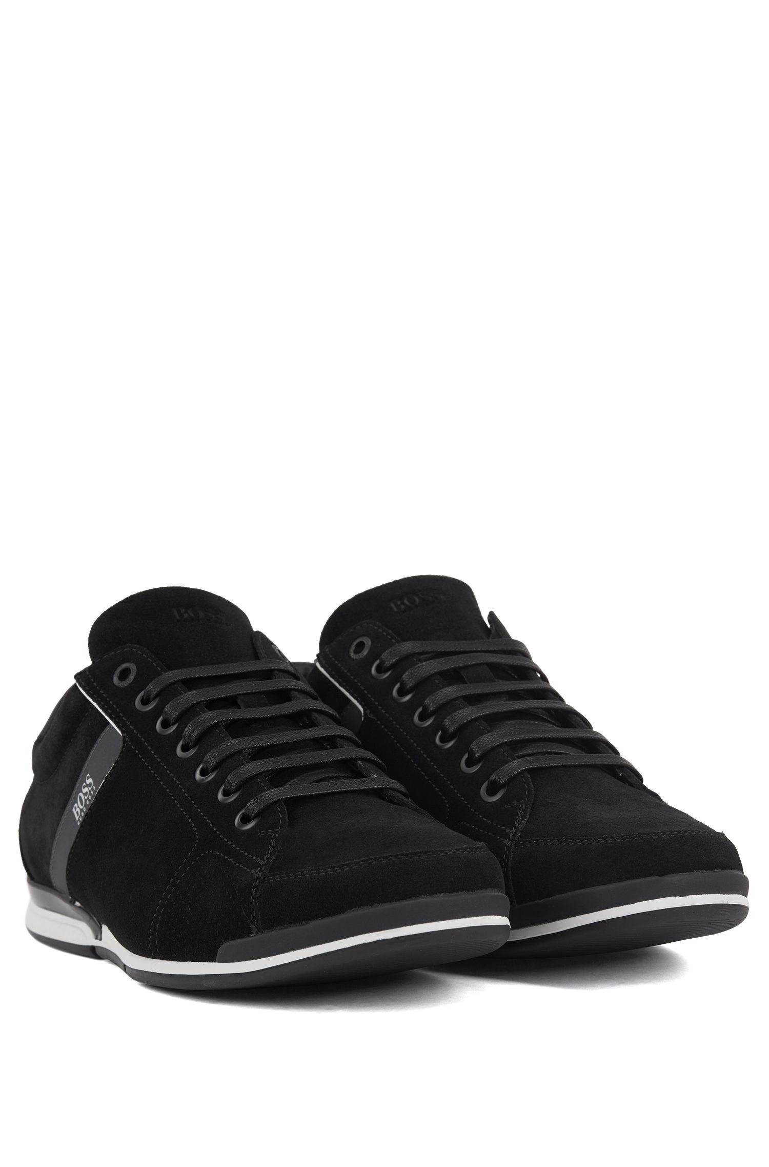 Suede trainers with bamboo-charcoal lining, Black