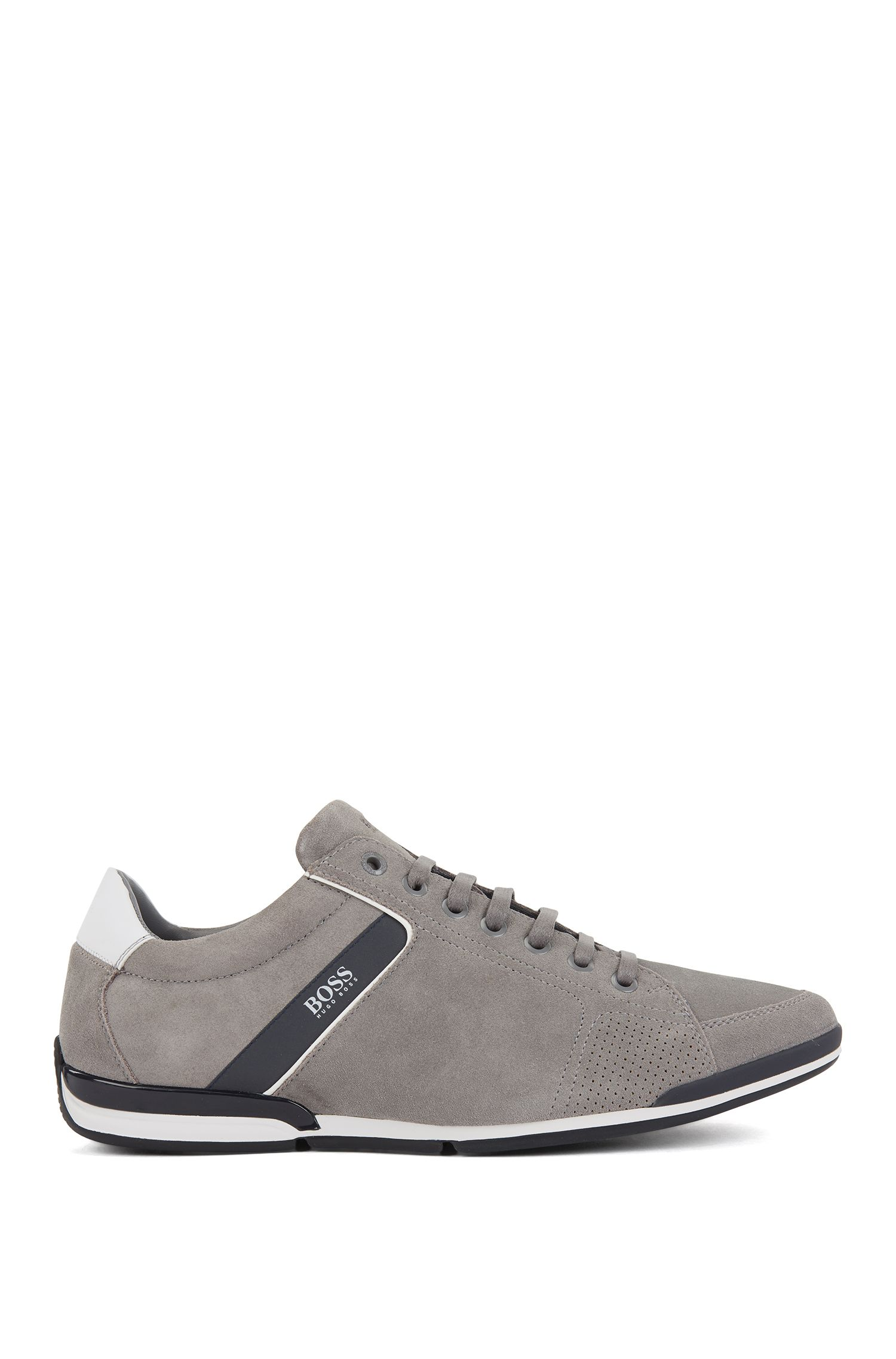 Suede trainers with bamboo-charcoal lining, Grey