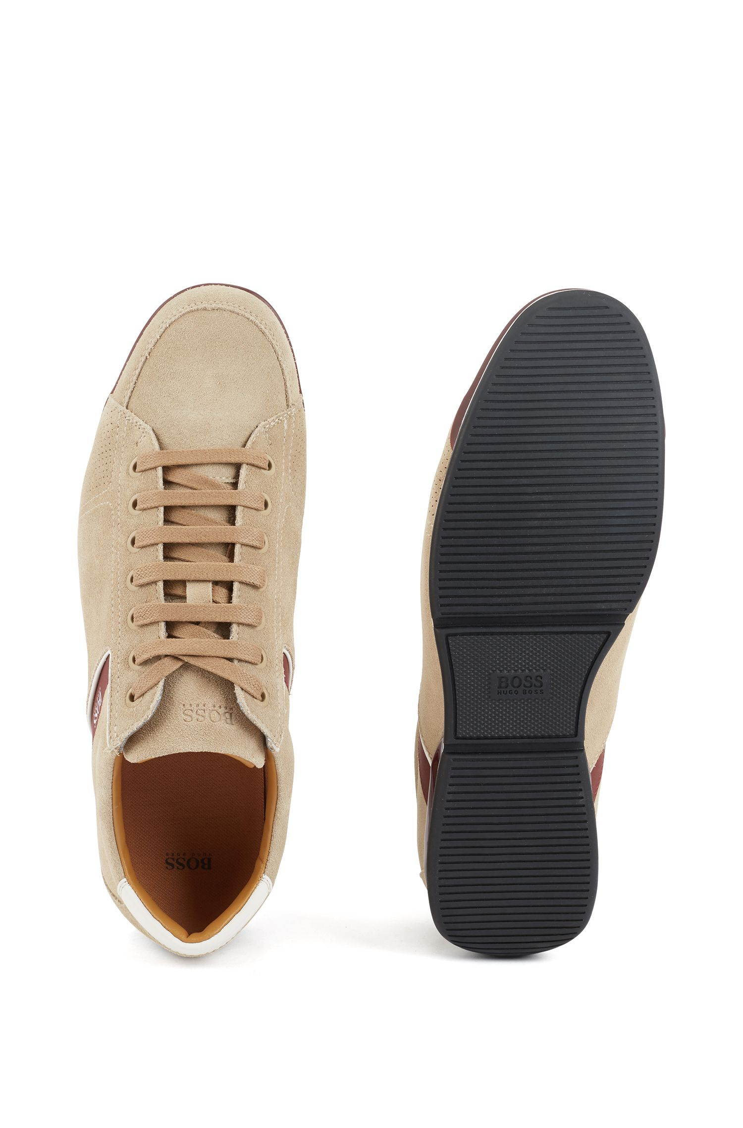 Sneakers aus Veloursleder mit speziellem Innenfutter, Beige