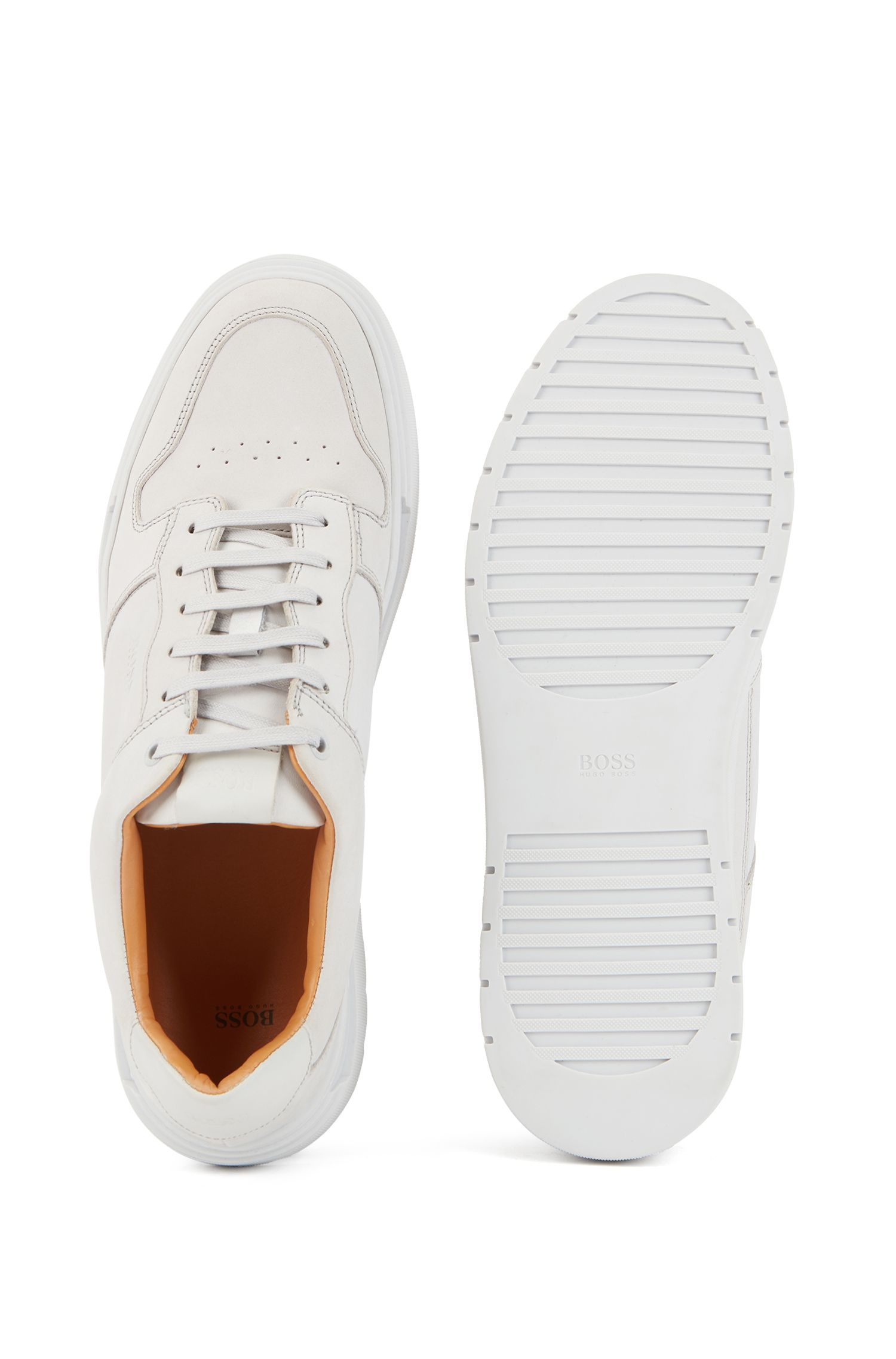 Tennis-inspired trainers in nubuck leather, Light Grey