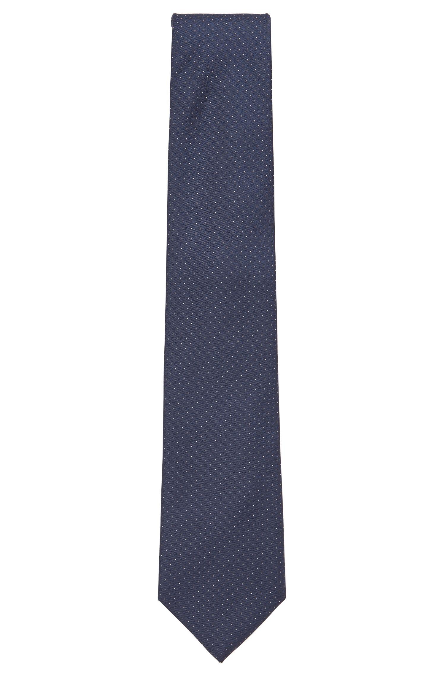 Cravate en jacquard de soie mélangée à micromotif, Bleu vif