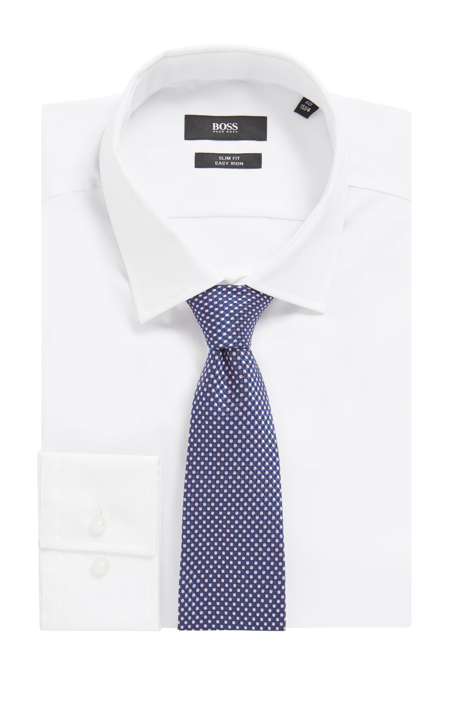Dot-patterned tie in a silk blend, Dark Blue