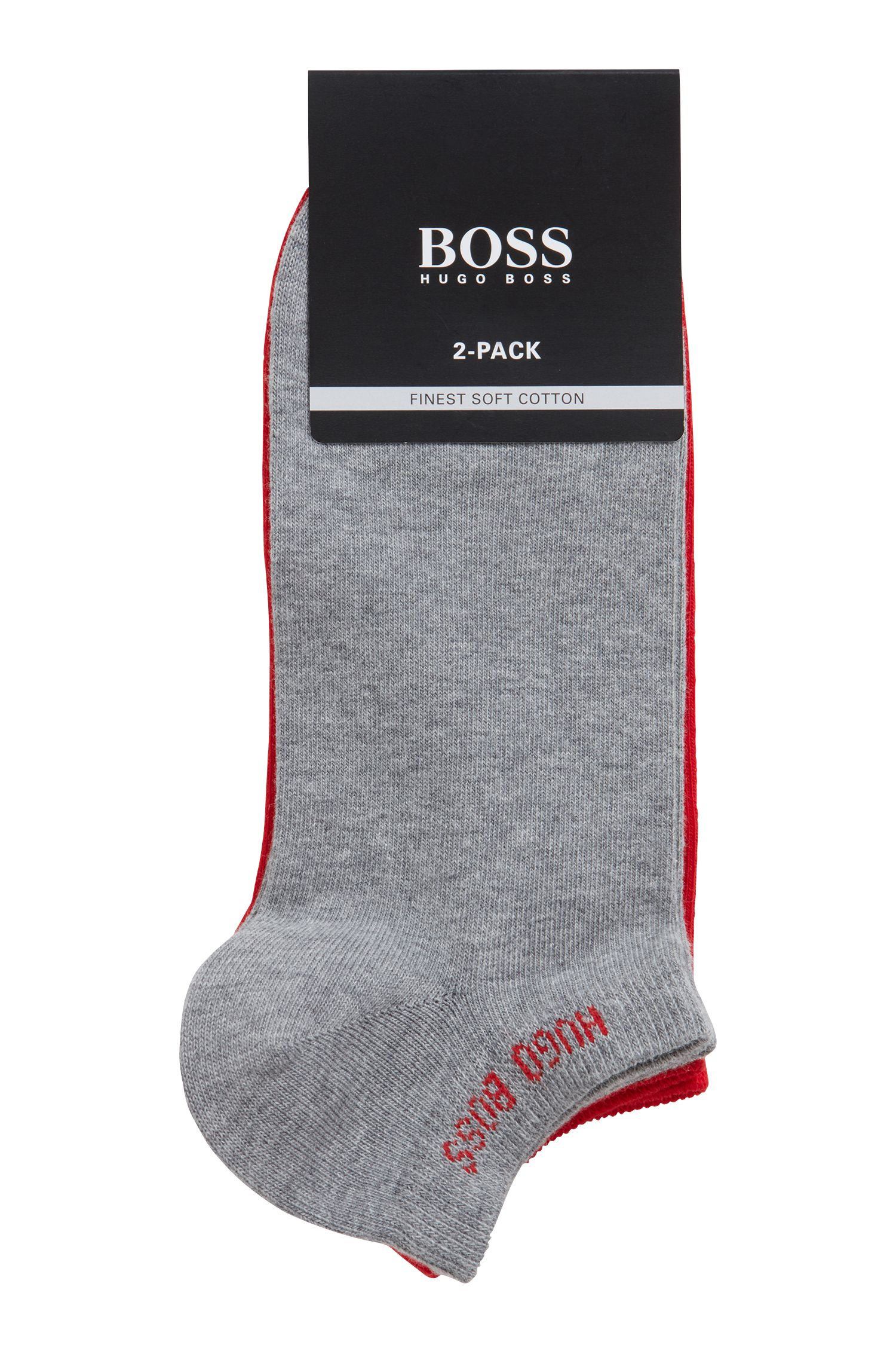 Two-pack of ankle socks in a cotton blend, Silver