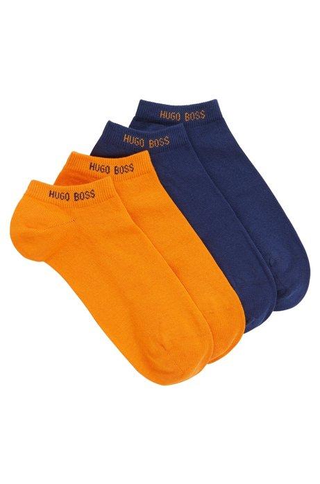 Zweier-Pack Sneakers-Socken aus elastischem Baumwoll-Mix, Dunkelblau