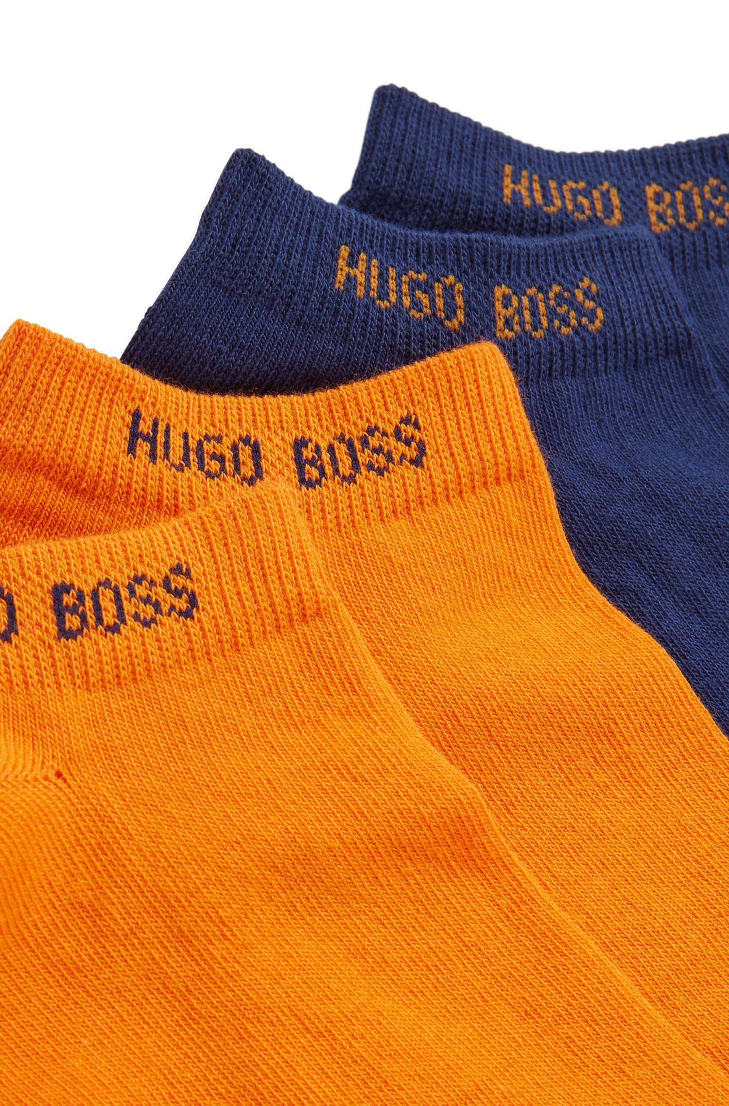 Lot de deux paires de chaussettes basses en coton mélangé, Bleu foncé