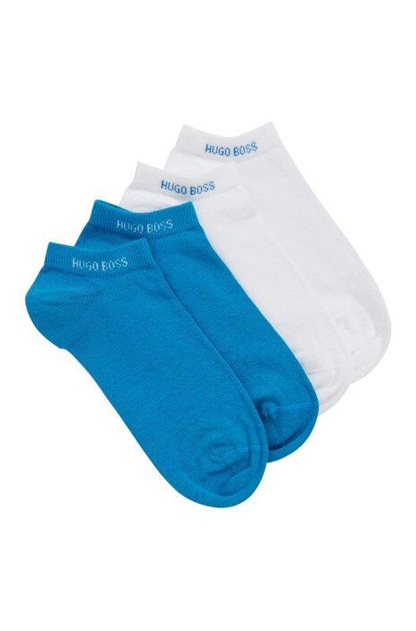 Zweier-Pack Sneakers-Socken aus elastischem Baumwoll-Mix, Blau