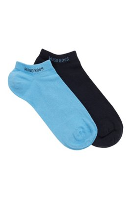 Two-pack of ankle socks in a cotton blend, Turquoise