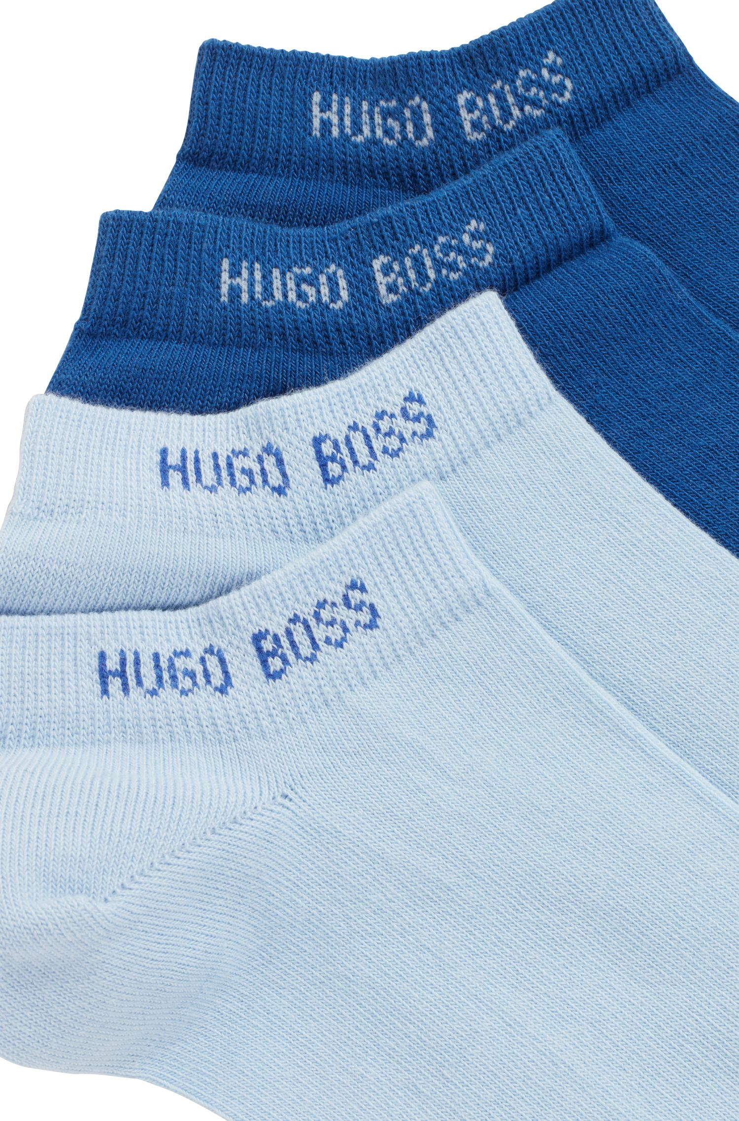 Two-pack of ankle socks in a cotton blend, Light Blue