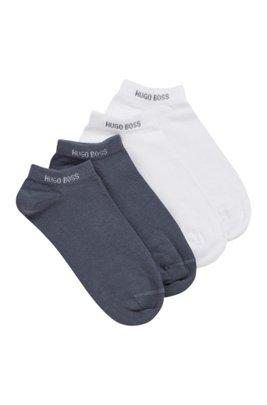 Zweier-Pack Sneakers-Socken aus elastischem Baumwoll-Mix, Hellblau