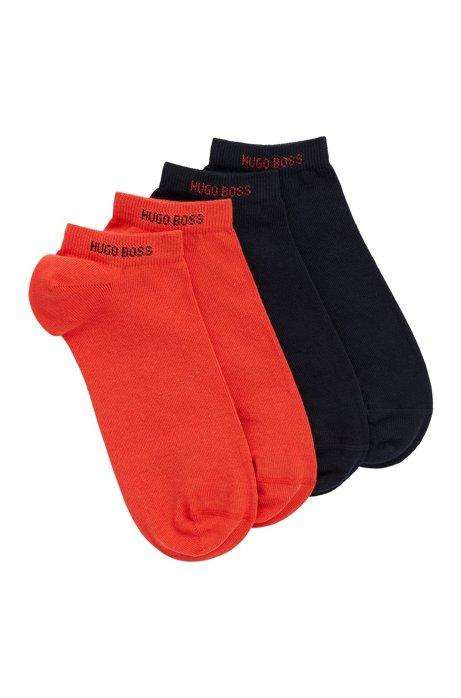 Zweier-Pack Sneakers-Socken aus elastischem Baumwoll-Mix, Orange