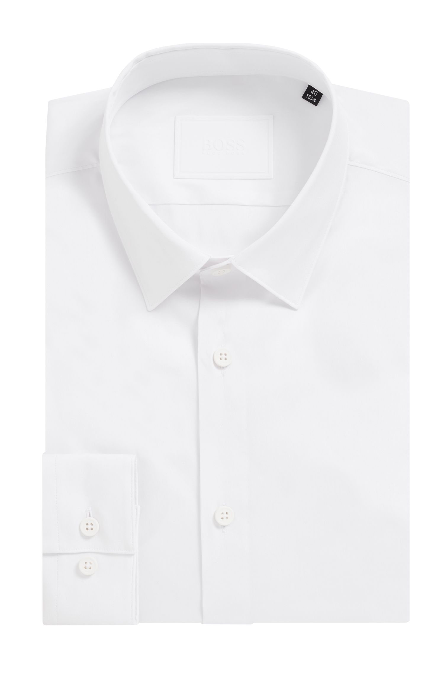 Extra slim-fit shirt in a cotton blend, White