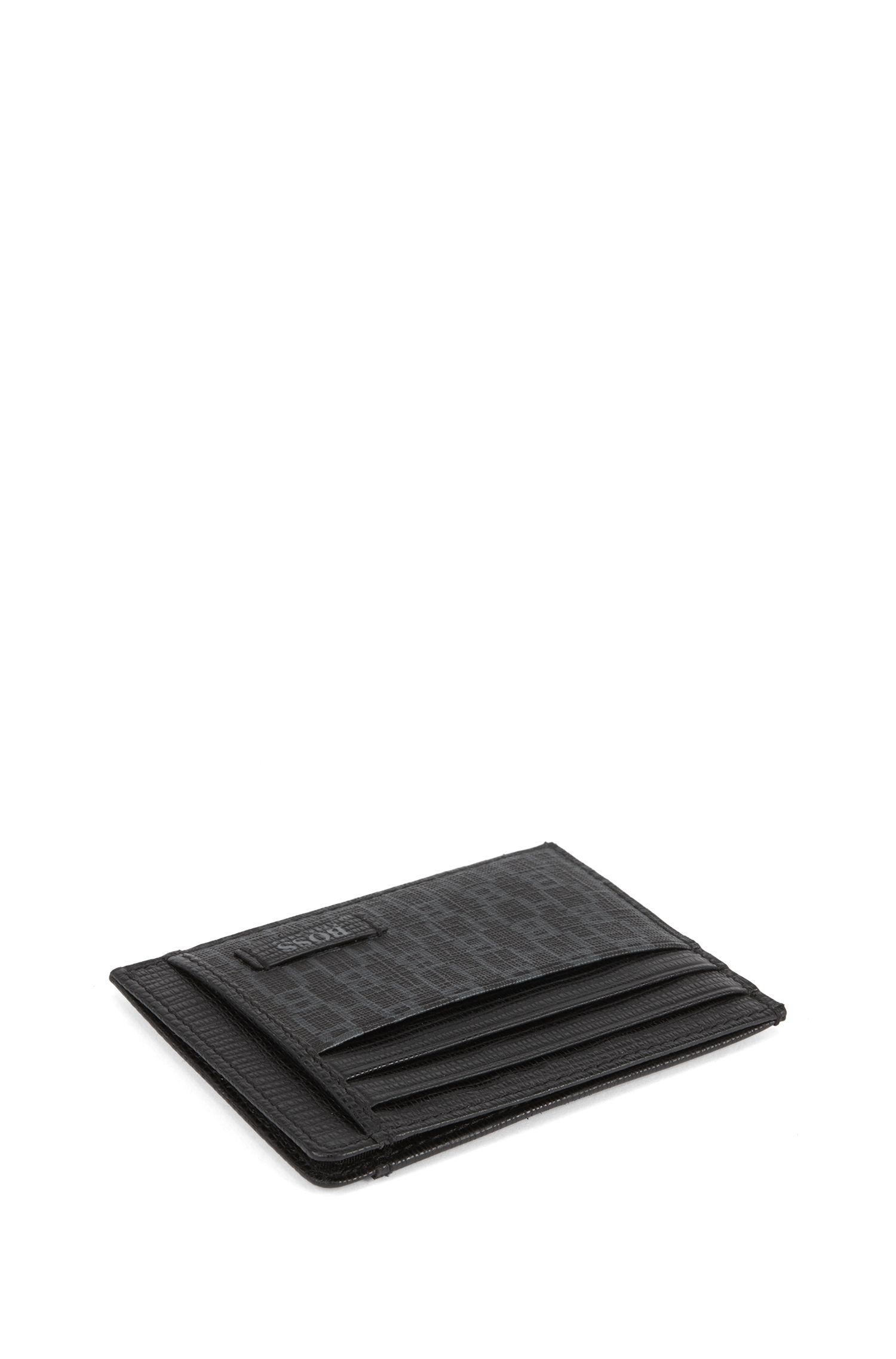 Kartenetui aus beschichtetem italienischem Gewebe mit Monogramm-Print, Schwarz