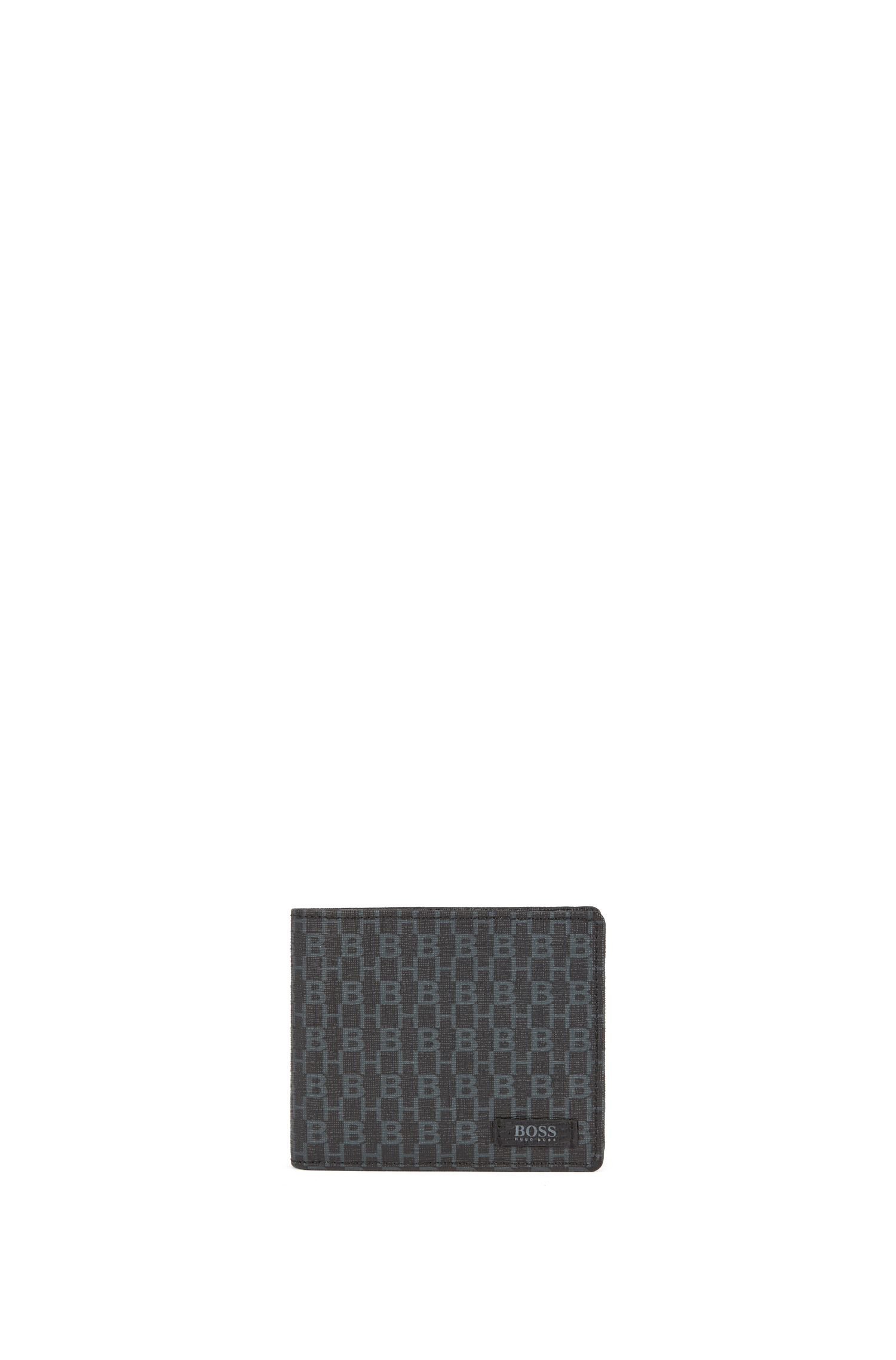 Trifold wallet in monogram-printed Italian coated fabric, Black