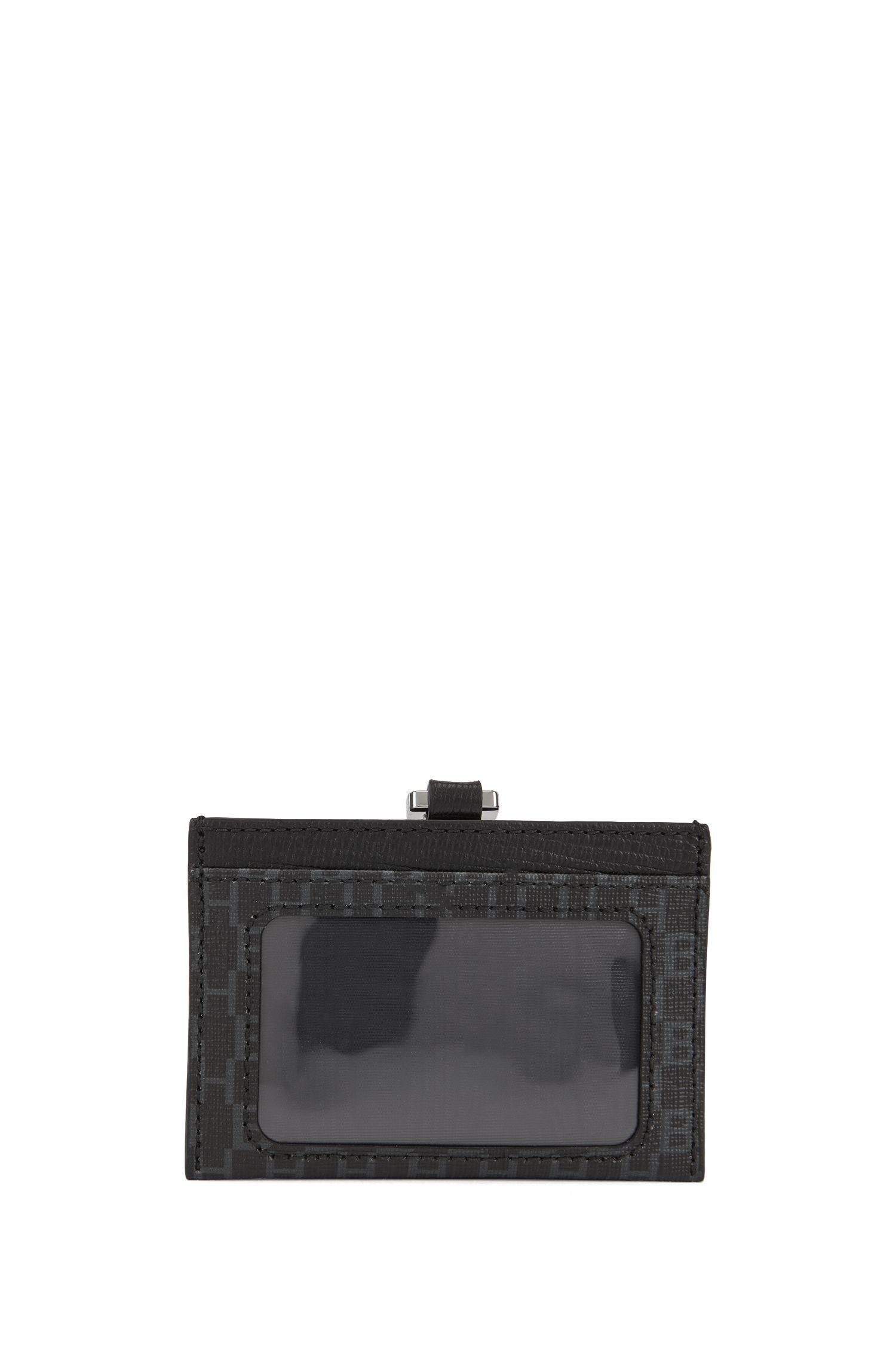 Monogram logo-print ID holder in Italian coated fabric, Black