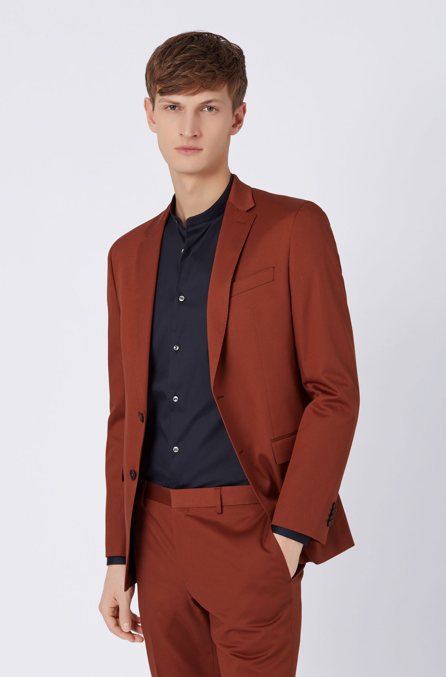 Slim-fit suit in stretch-cotton gabardine, Brown