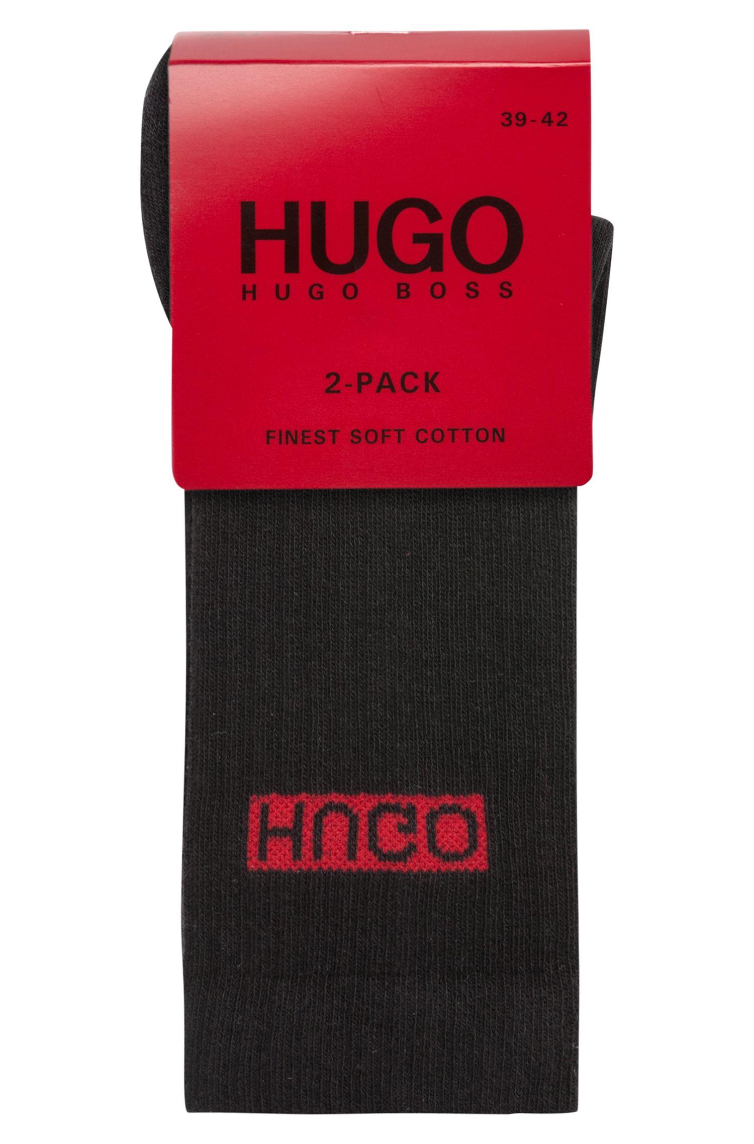 Zweier-Pack Socken aus geripptem Baumwoll-Mix mit Elasthan und Reversed-Logo, Schwarz