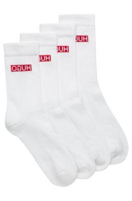 Lot de deux paires de chaussettes en coton mélangé côtelé à logos inversés, Blanc