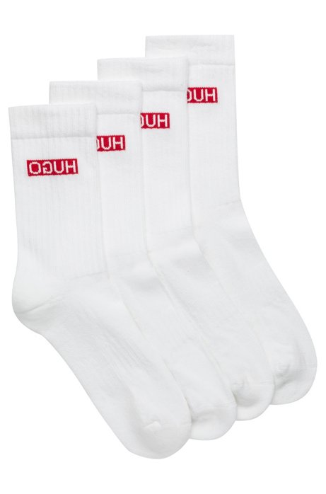 Zweier-Pack Socken aus geripptem Baumwoll-Mix mit Elasthan und Reversed-Logo, Weiß