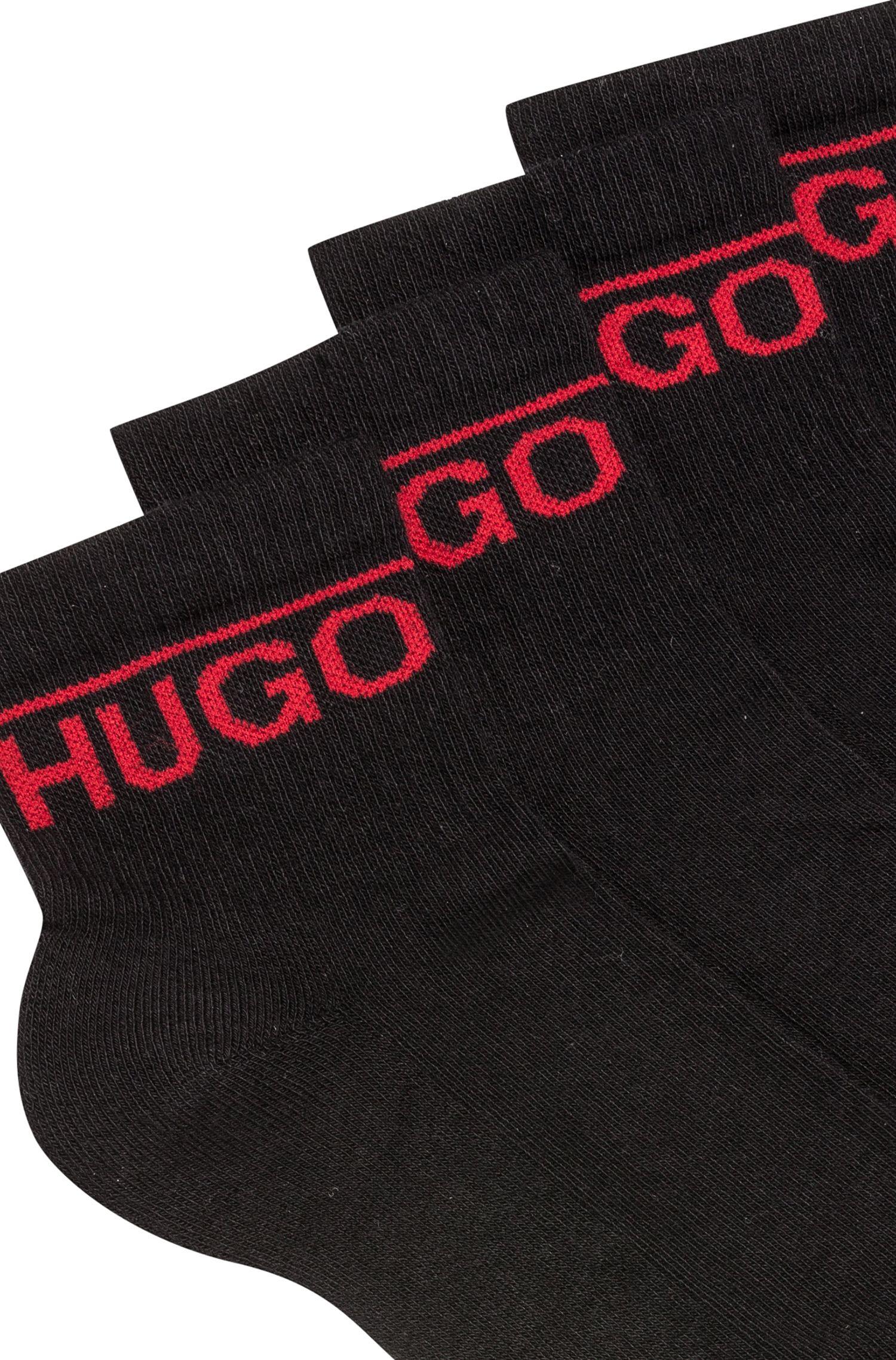Zweier-Pack kurze Socken mit Logo-Detail, Schwarz