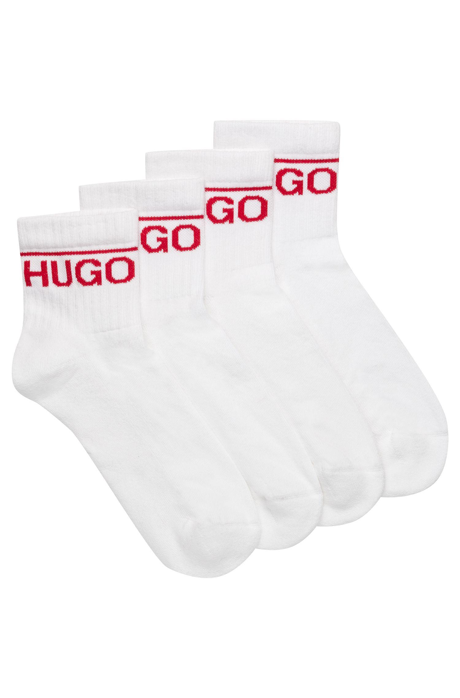 Zweier-Pack kurze Socken mit Logo-Detail, Weiß