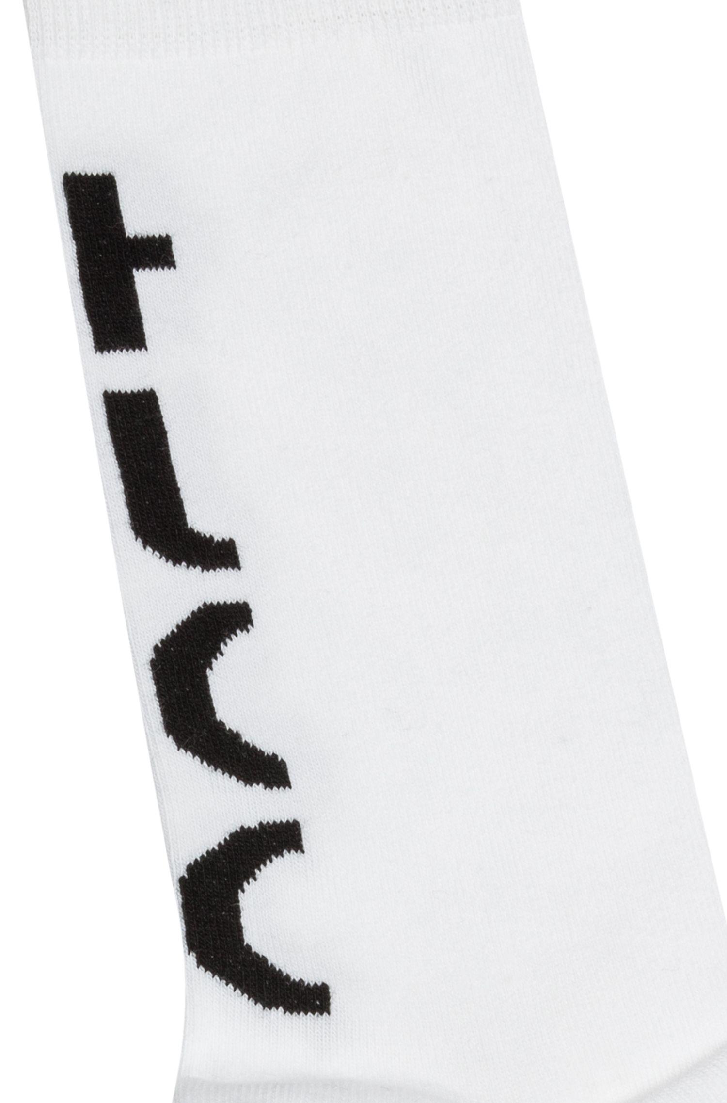 Calze di lunghezza media con logo spezzato a contrasto, Bianco