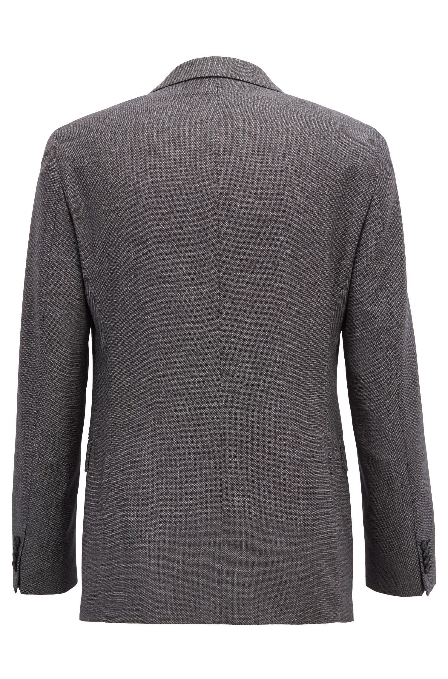 Traje slim fit en sarga de lana virgen con microestampado, Gris oscuro